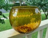 Mid Century Modern Empoli Amber Topaz Orb Bowl Vase Italian Murano Hand Blown Optic Art Glass