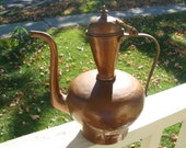 Antique Hand Made Hammered Copper Coffee Tea Pot Brass Handle Primitive Riveted Dovetail Seam Spout Tin Tinned Lined Turkish Islamic Type