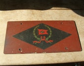 Antique Lehigh Valley Railroad Train Metal Mounting Plate Hand Painted Railroadiana Collectible