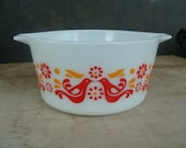 Vintage Pyrex Glass Friendship Birds Casserole Dish Without Lid Pyrex 1 Qt 473