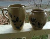 Hand Thrown Pottery Salt Glazed Stoneware Sugar Creamer Set Cobalt Blue Decorated