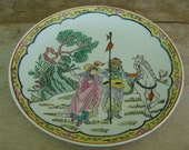 Vintage Chinese Porcelain Decorative Plate Hand Painted Landscape Scene With Figures On Horses And Period Or Artist Seal Mark 10 quot