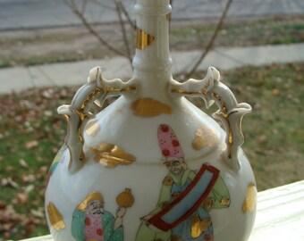 Servant oil and vinegar VINTAGE 1970 floral pattern, opal bottles in a wooden holder
