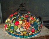 Jeweled Grapes Stained Glass Pendant Lamp Hanging Chandelier Lamp Shade With Multi Color Mosaic Slag Glass Large 18 quot x 6 quot