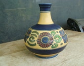 Beautiful Japanese Hand Painted Arts And Crafts Pottery Bottle Vase With Matte Glaze Finish Kinkozan Made In Japan