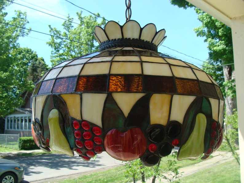4e0717fef05 Vintage Tiffany Style Stained Glass Lamp Shade Slag Glass And