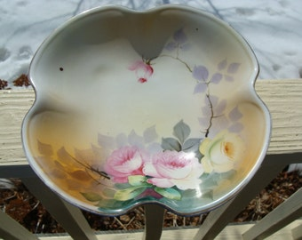 Hand Painted Art Porcelain Bowl with Pink and Yellow Roses Japanese Made Antique Nippon Japan