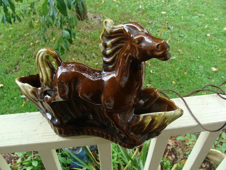 Vintage Retro Television Lamp Planter Vase Stallion Horse Running Prancing Horse Statue TV Lamp Light Mid Century 50/'s