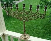 Very Large Jewish Candelabra Judaica Brass Menorah Russian Samovars Hanukkah Candle Holder Decorated With Lions of Judah Judea 22 quot