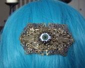 Steampunk Vintage Style Bronze Coloured Eye Ball Hair Barrette Clip Slide Grip