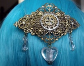 Steampunk Victorian Style Bronze Coloured Metal Gear / Cog  Lampwork Heart Hair Barrette Clip Slide Grip