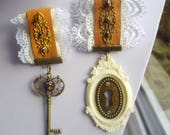 Steampunk Medal His & Hers Key Keyhole Leather Lace Wedding Medals Badge Brooch
