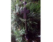 Gothic Black Synthetic Turquoise Cross  Large Christmas Tree Decoration Ornament