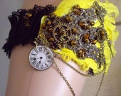 Steampunk Fairies Clock Black Lace Yellow Feathers Vintage Style Fairy, Chain & Cog Bride Wedding Garter Cosplay