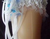 Pastel Goth Gothic Style White And Blue Spiked Flowers Lace Ribbon Bride Wedding Garter Cosplay