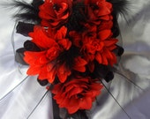 Gothic Cross Red Silk Flowers And Black Roses  Bride  Small Wedding Bouquet
