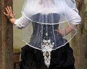 Steampunk Vintage Style Cameo Bridal Ivory 2 Tier Beaded Wedding Veil
