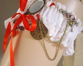 Gothic Steampunk Lace And Red Ribbon white Wedding Cosplay Garter Alice Looking Glass