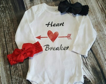 Heart Breaker, Love, Heart  Boy or Girl Baby Onsie Bodysuit .T-shirt