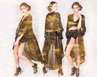 Long Black Chiffon Kimono Duster with Metallic Gold Splatter/ One Size/ Unisex/ Long Duster/ Sheer Kimono/ Chiffon Duster/ Coverup/Beachwear