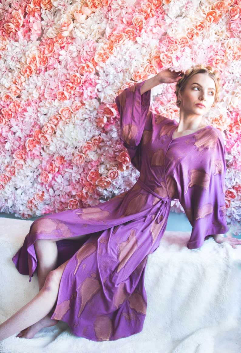 a4782f1515d Long Fuschia Knit Kimono Wrap Dress with Gold Metallic | Etsy
