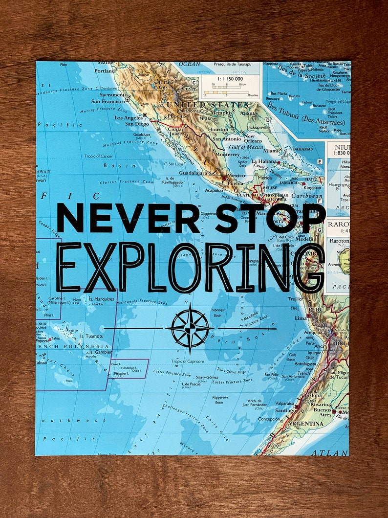 Southern United States and South America Map Print, Never Stop Exploring,  Great Travel Gift, 8\