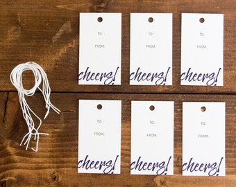 Cheers Letterpress Gift Tag - Set of 6