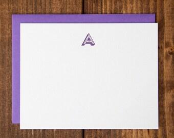 Instock Monogram Dotted Letterpress Notecards - Set of 10