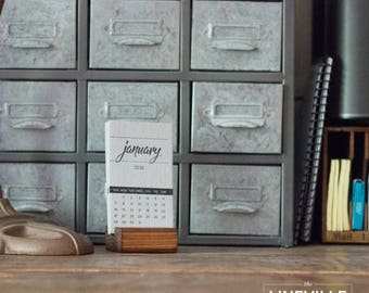2018 Letterpress Desk Calendar *Limited Edition Grey with wood base