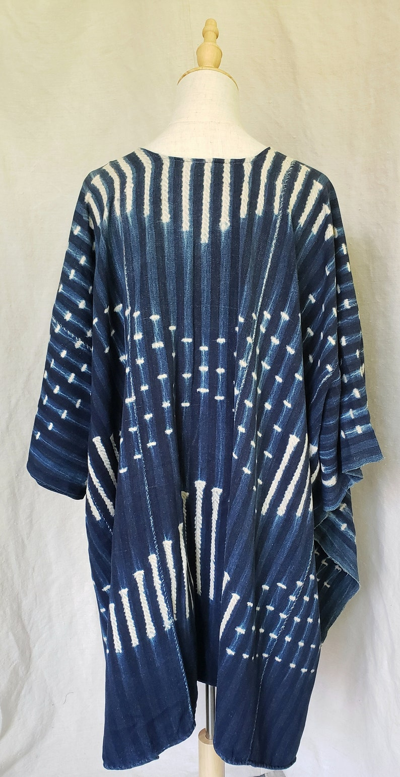 Gift for Her Tunic Indigo Textile Poncho Women/'s Top One Size Fits All P1952