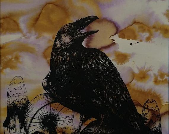 Raven and Mushrooms Print