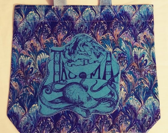 Psychedelic 80's Tacoma Octopus Re Usable Market Tote