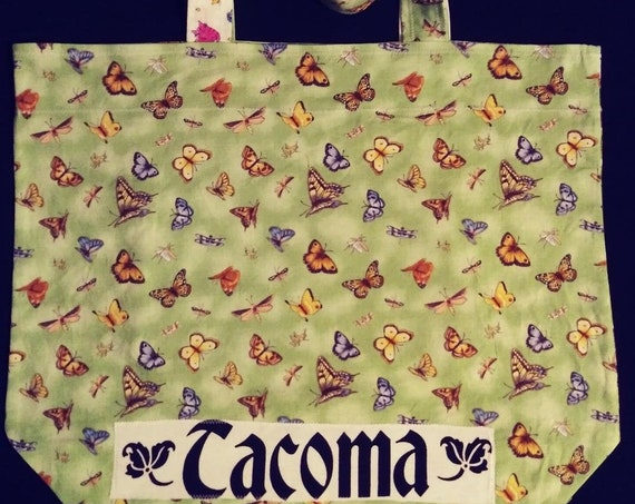 Re Usable Market Tote with Kitties, Butterflies and Batik