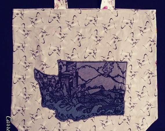 Re Usable Market Tote with Kitties