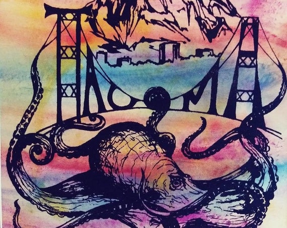 Tacoma Octopus Hand Colored Screen Print