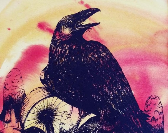 Raven and Mushrooms Hand Colored Screen Print