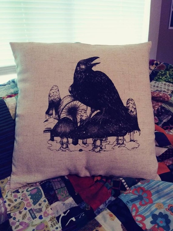 Raven and Mushrooms Pillow