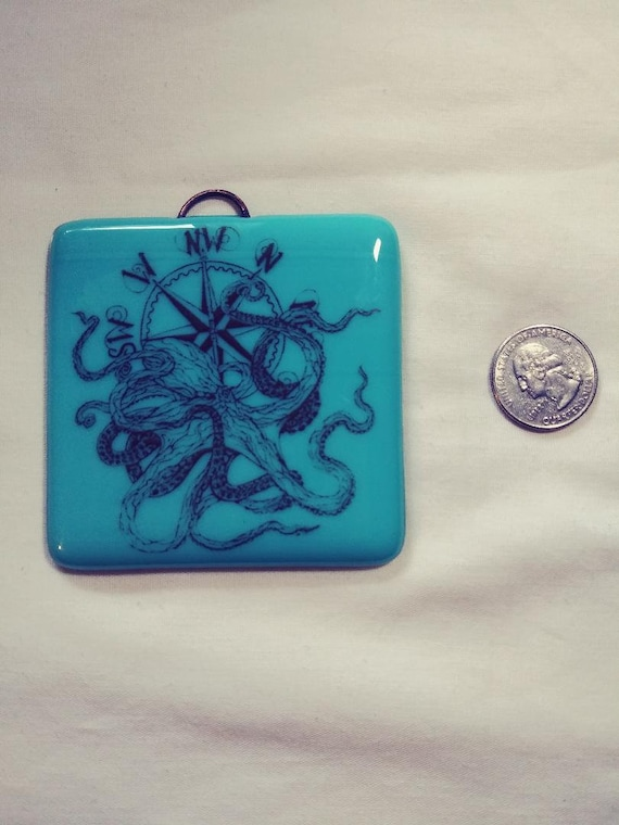 Fused Glass Square Ornaments Featuring Tacoma Octopus, NW Compass