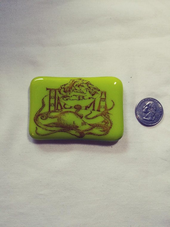Tacoma Octopus, Washington State and Mt Rainier Fused glass Magnets