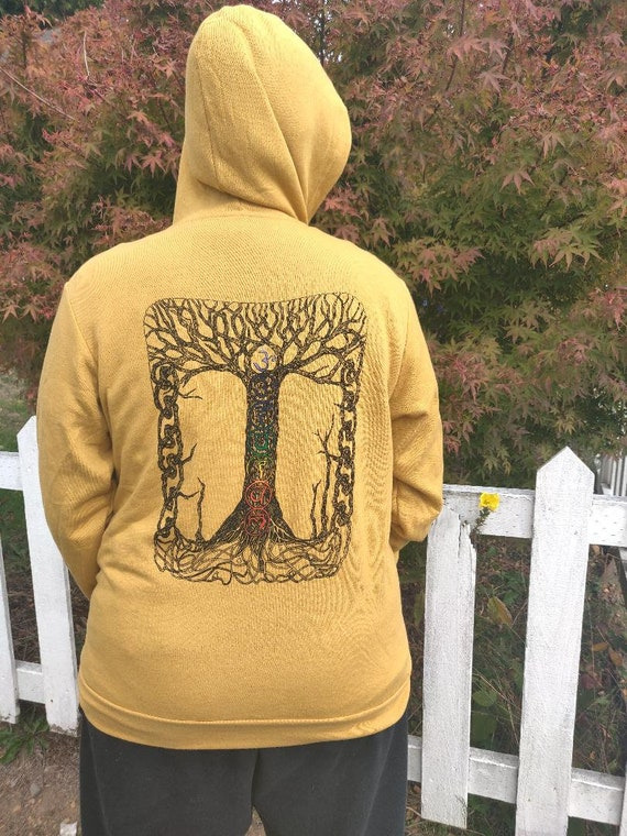 Unisex Chakra Tree of Life Hooded Sweatshirt