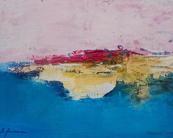 Original Landscape acrylic  painting, abstract landscape, PINK AND BLUE, texture, atmospheric, colorful modern art,5x7 inches