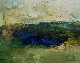 Landscape acrylic  painting, abstract landscape, DEEP BLUE LAKE, texture, atmospheric, modern art,5x7 inches