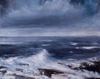 Original  beach painting, abstract acrylic seascape //KEEP MOVING// expressive, atmospheric, modern art