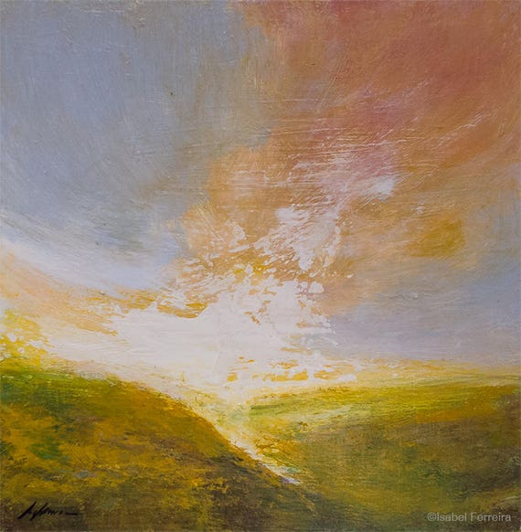 Original Abstract Landscape Painting Sunrise Over The Etsy
