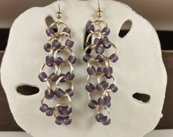 Purple/Amethyst Dangling Chainmaille Beaded Earrings