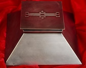 c1912 Style Antique Mission Arts Crafts Desk Inkwell Heintz Sterling on Bronze