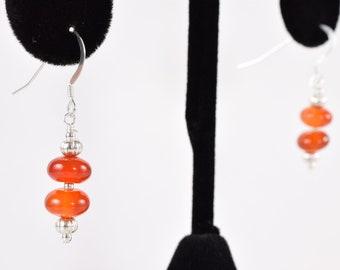Elegant Orange Carnelian & Sterling Silver 925 Beaded Dangle Drop Earrings