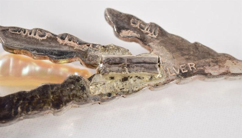 Vintage 12mm Fresh Water Pearl Harvest Leaves Sterling Silver 925 Brooch Pin