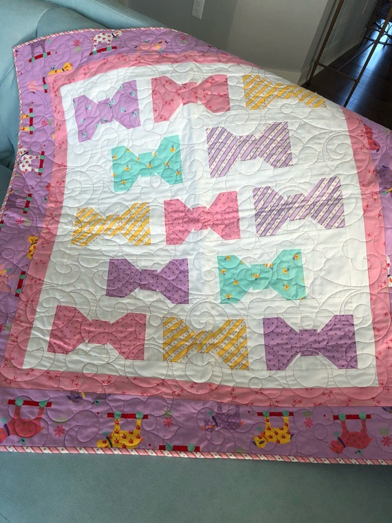 Soft Sweet baby girl pink and gray quilt Cuddly Bunny Hill Moda quilt