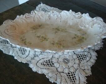"Serving platter; French porcelain; floral patterned La Francaise Porcelaine 14 x 8x 2"""